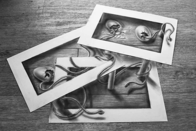 Serpent-Illusion-840x559-Superb 3D Artwork on Paper