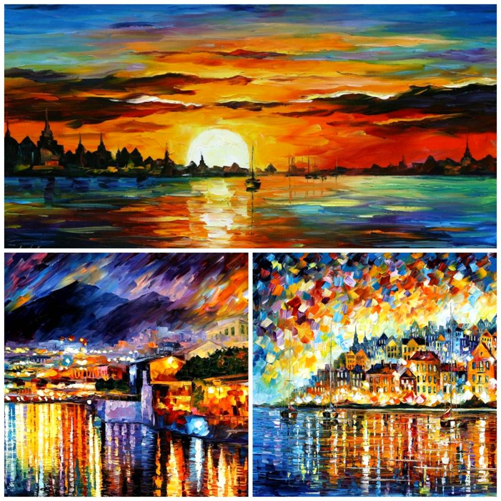 Afremov-collage-2-modern-art-artist-sea