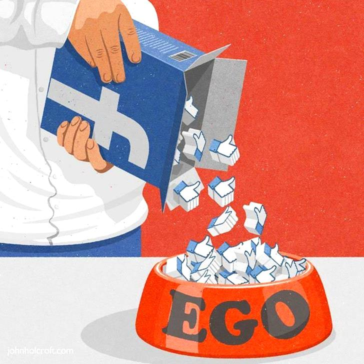 Facebook - Feeding your ego... By John Holcroft-Stunning-illustrations-design-top-artists