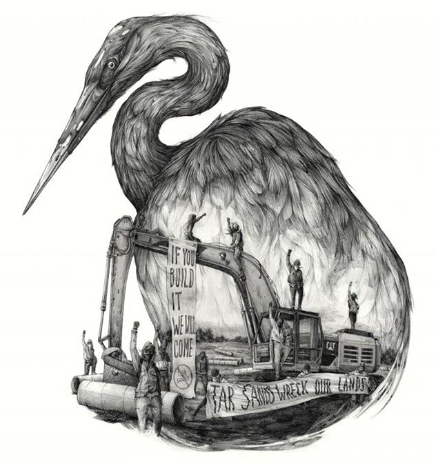 Great Lakes Tar Sands Resistance by Pat Perry-Stunning-illustrations-design-top-artists