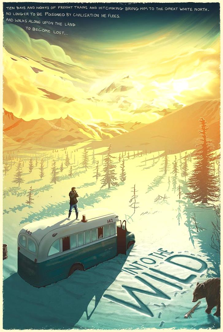 Into the Wild Film Poster by Pete Lloyd-Magnificent Illustrations-Drawings_paints