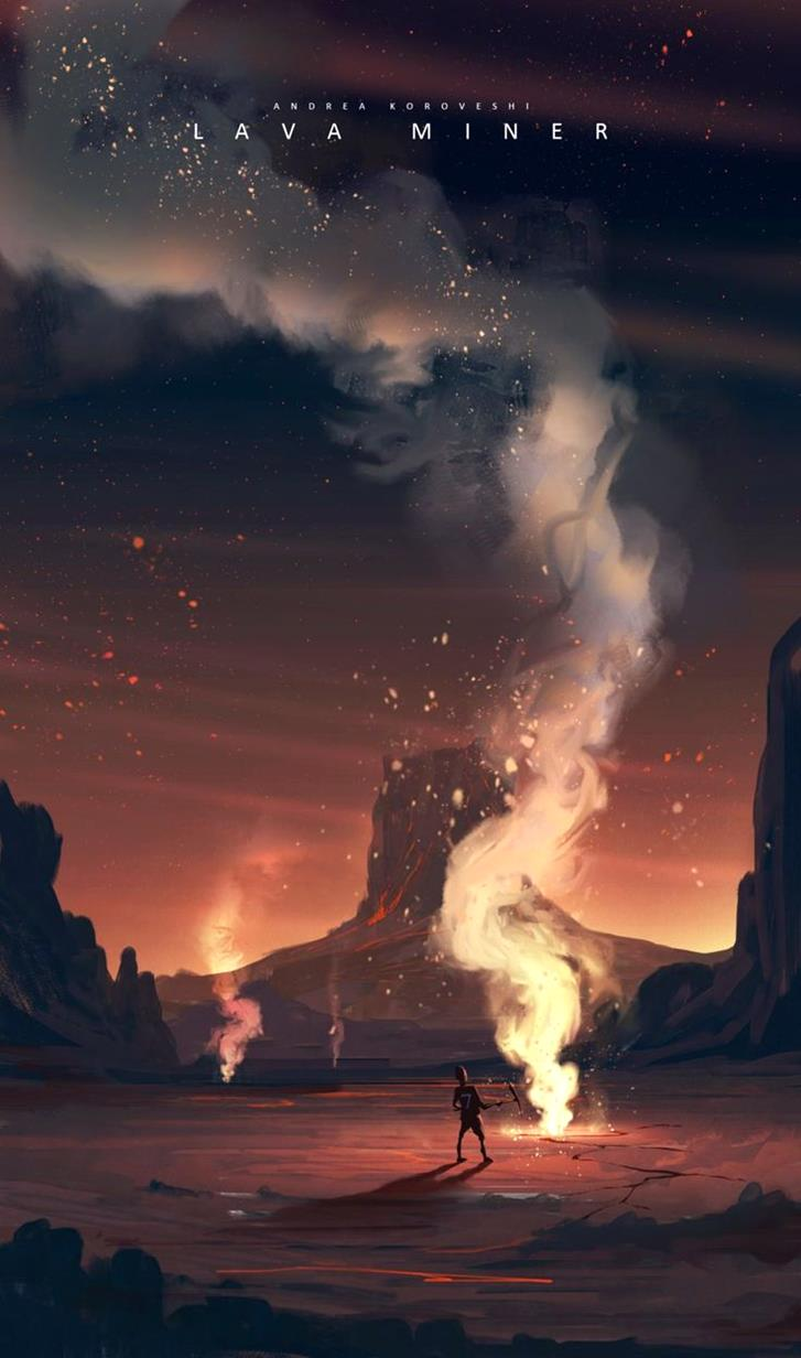 Lava miner by Andi Koroveshi-Magnificent Illustrations-Drawings_paints