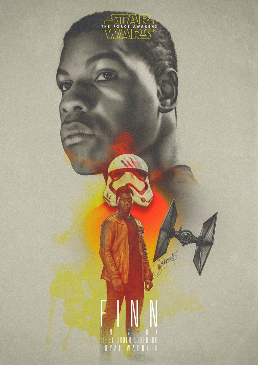 Star Wars-Finn by Laura Racero-Magnificent Illustrations-Drawings_paints