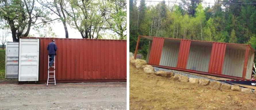 Woman has bought conventional containers and turned them Containers turned into homes
