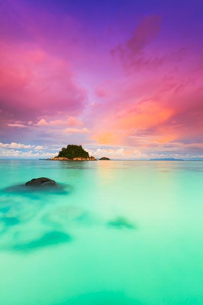 Sunset on Ko Lipe, a small island surrounded by the Andaman Sea and located near the Tarutao National Park in southwest Thail