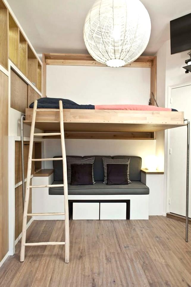 e-saving-bunk-beds-with-ladder-and-hardwood-flooring-design-architecture-loft-amazing-small-room