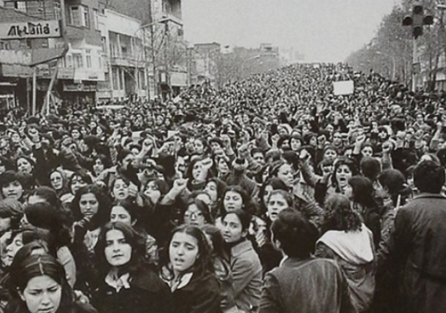 Iranian women who are opposed to compulsory hijab, days after the Islamic revolution of 1979