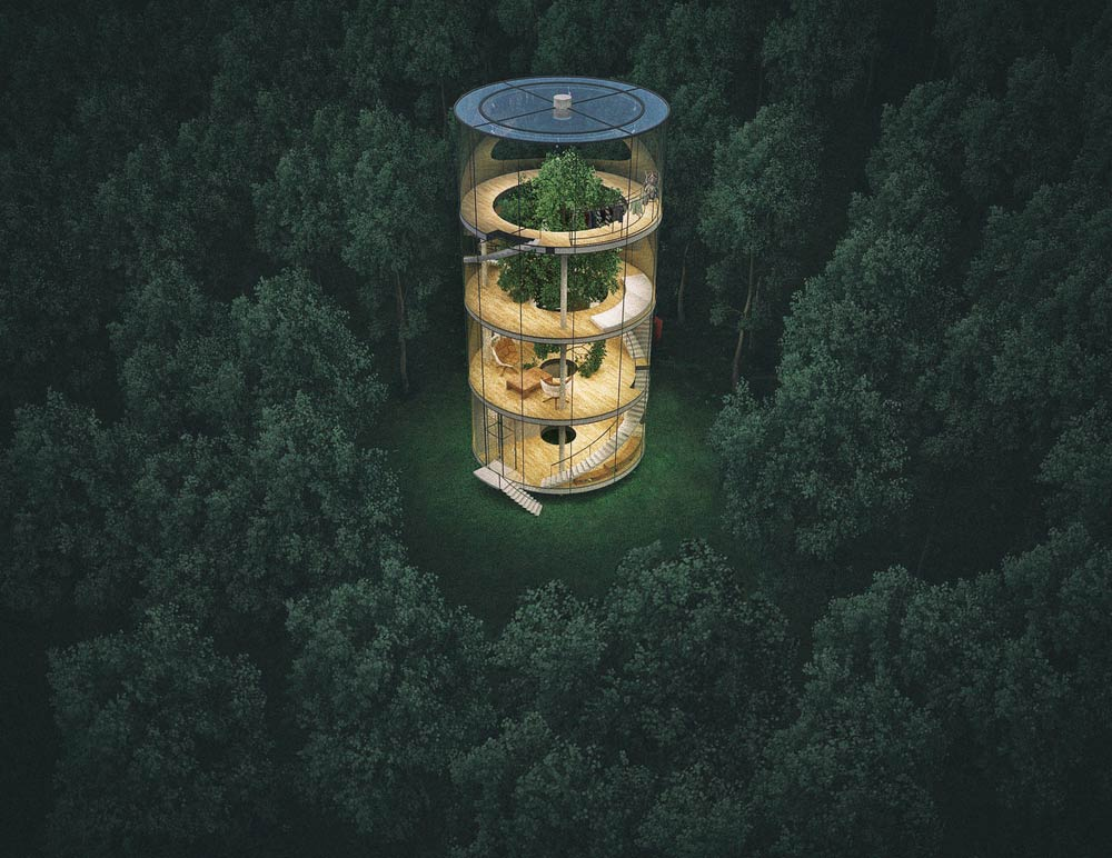 Amazing house in the form of pipes, standing in the middle of wild nature