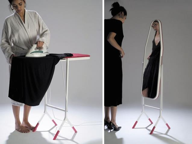 An ironing board with a mirror