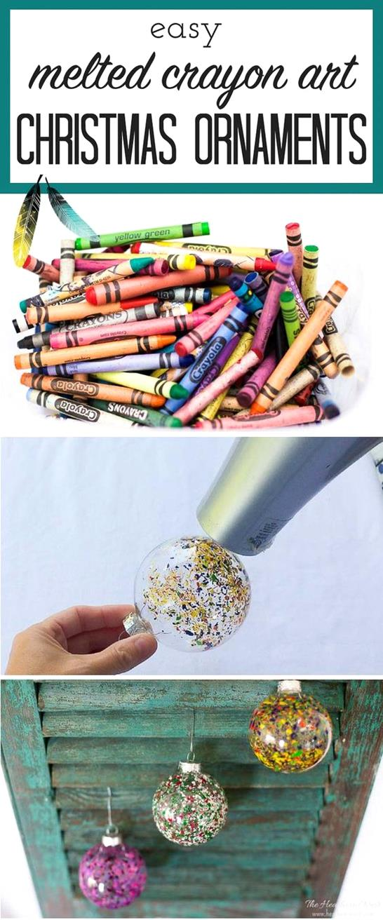 Melted crayon art DIY Christmas Ornament tutorial