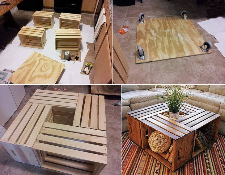 diy coffee table in fruit box