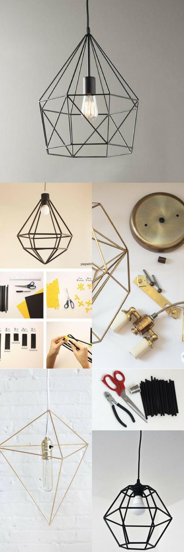 25 diy lamp shade projects ideas sky rye design geometric lamp diy aloadofball Image collections